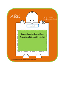 Super Special Education - Accommodations Checklist