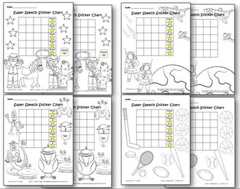 Super Speech Sticker Chart & Coloring Page_Package #2