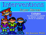 Intervention:  ELA or Math Superheroes EDITABLE