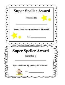 Super Speller 100% Spelling Test Award
