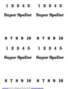 Super Speller Punch Card