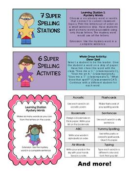 Super Spelling Activities and Learning Centers