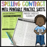 Spelling Contract w/Printable Practice Sheets