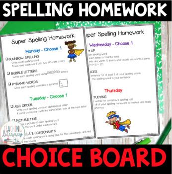 Super Spelling Homework Choice Board