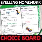 FREEBIE!  Super Spelling Homework Choice Board