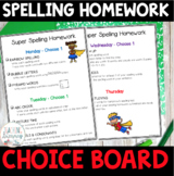 Spelling Homework Choice Menu FREE
