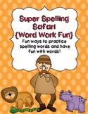 Super Spelling Safari:  Word Work Fun {15 word lists}