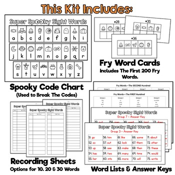 Super Spooky Sight Words FRY BUNDLE: The FIRST 200 FRY Words-Great for Halloween