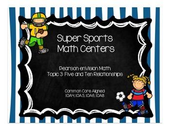 Super Sports Math Centers-Pearson enVision First Grade Math Topic 3