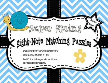 Super Spring Sight-Note Matching Puzzle: Treble Staff