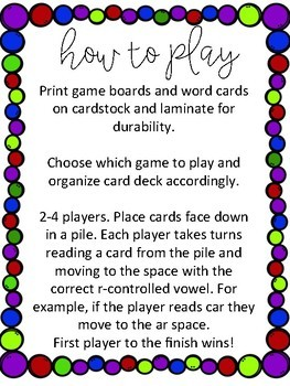 Super Star R-Cont. Vowels Board Games and Sorts (NO DICE NEEDED!)