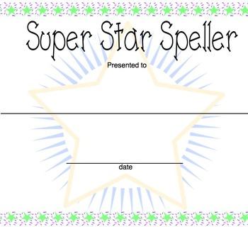 Super Star Speller Award