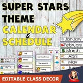 Super Stars Theme Calendar and Class Schedule Editable