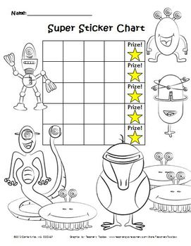 Super Sticker Chart & Coloring Page, Package 2