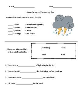 Super Storms Comprehension & Vocabulary Test