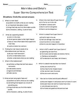 Super Storms- Comprehension & Vocabulary Test (Journeys)
