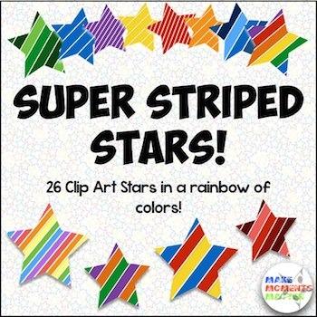 Super Striped Stars Clip Art Set