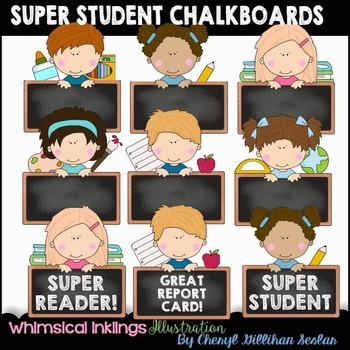 Super Student Chalkboards Clipart Collection