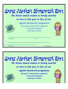 Super Student Homework Pass