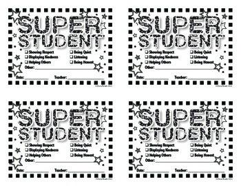 Super Student Positive Reinforcement Slips