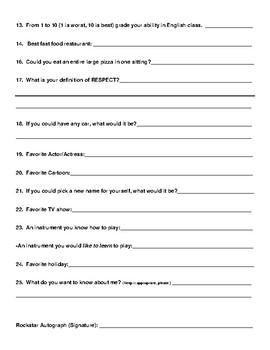 Super Student Questionnaire