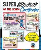 Student of the Month Certificates - Super Heroes