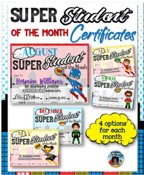 editable student of the month certificates teaching resources