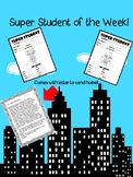 Super Student of the Week Forms and letter to parents