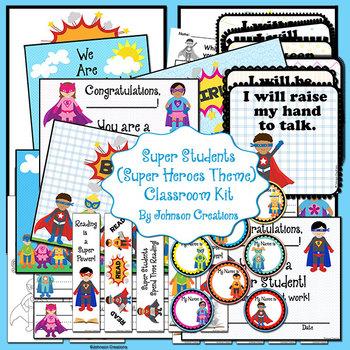 Super Students (Super Heroes Theme) Classroom Kit