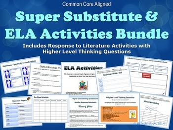 Super Substitute Teacher ELA Activities Bundle