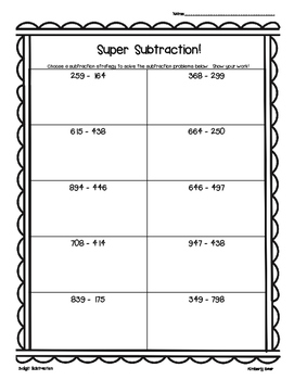 Super Subtraction! 2 and 3 digit subtraction--leveled practice worksheets