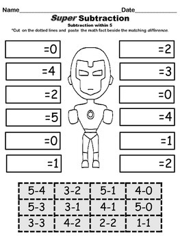 Super Subtraction - Cut and Paste Math Fact Sheets and Quizzes