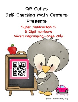 Super Subtraction Self Checking Math Centers 3 digit regrouping ones