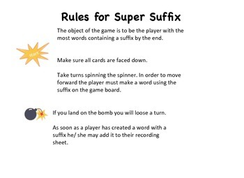 Super Suffix Board Games with Activity Sheet