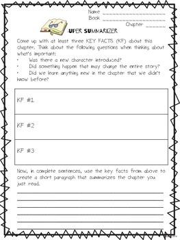 Literature Circle Response Form- Super Summarizer