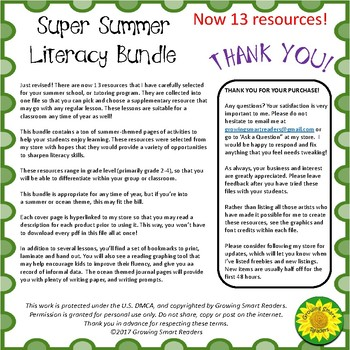 Summer Literacy Bundle (Summer Sale Discount!)