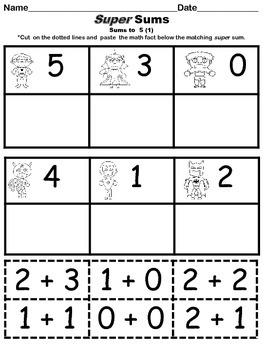 Super Sums - Addition Facts Cut and Paste Packet with Quizzes