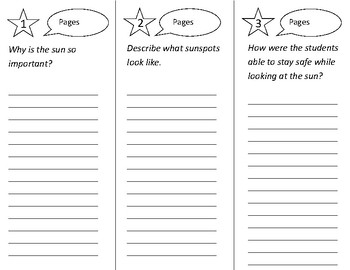 Super Sun Science Trifold - 2nd Grade Literacy by Design Theme 4