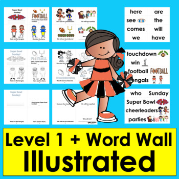 Football Mini Books:  Updated for Super Sunday 2018 -3 Levels & Word Wall w/Pics