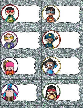 Editable Super Superhero Labels- silver glitter