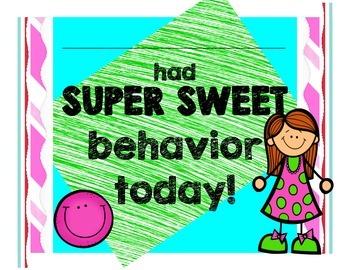 Super Sweet Behavior Certificates