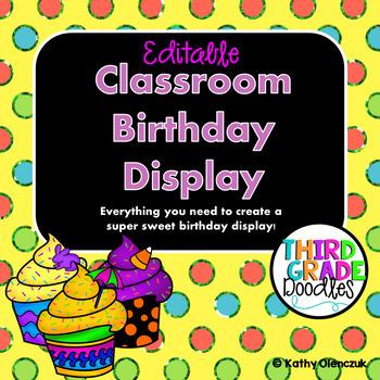 Classroom Birthday Display-- EDITABLE Display Posters, Postcards and More!!