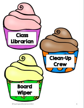 Super Sweet Classroom Job Cupcake Posters