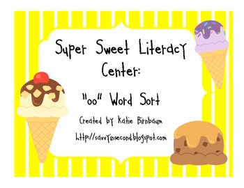 Super Sweet Literacy Center: oo Word Sort
