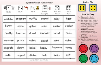 Syllable Division Rules  Bundle Connect Game and Resource Book