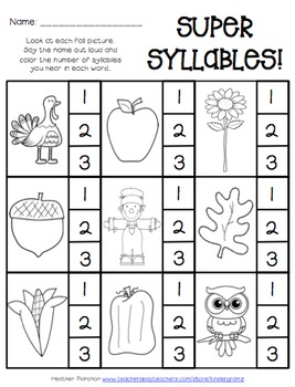 Super Syllables: Fall Edition