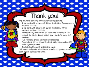 Super Syllables Literacy Actvities