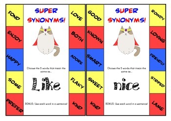 Super Synonyms Clip Cards Sample