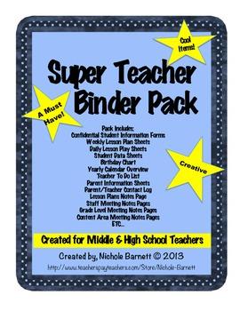 Teacher Binder Super Pack - Lesson Plans, Teacher Documents, Calendar, Etc.