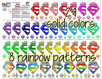 Super Teacher Rainbow Colors Iron-on Pack: 36 Colors for your Entire Team